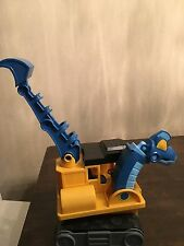 "Dino Construction ""Boom"" Brachiosaurus Backhoe Blue Yellow Construction Toy Cute"