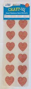 12 Heart Red Gem Stickers 35mm X 35mm Wedding Card Making Anniversary