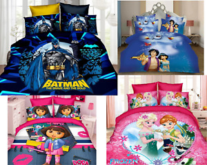 Disney Cartoon Super Hero Princess Bedding Set Bed Sheet Pillow Case 3Pcs Set