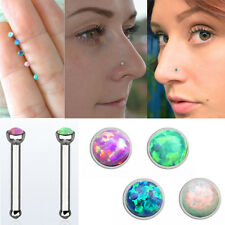 18g 1mm Prong Set Synthetic Opal Silver Straight Nose Stud Pin Piercing 1PC-4PC