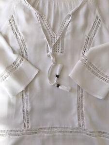 Daniel Rainn Stitch Fix White Crochet Popover Blouse Sz Small 3/4 Sleeve V-Neck