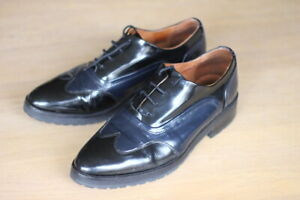 WHISTLES Black & Navy Leather Brogue Lace Up Shoes VGC Fit 39 UK 6 6.5