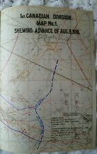 Copy of WW1 MAP marked with objectives included in Canadian 1st Div report