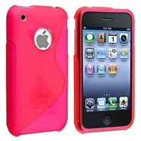 HOT PINK S SHAPE TPU RUBBER SKIN SOFT CASE COVER BUMPER FOR APPLE IPHONE 3G 3GS