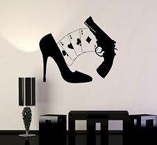 Vinyl Wall Decal Gambling Cards Gun Girl Poker Mafia Casino Shoes Stickers ig494