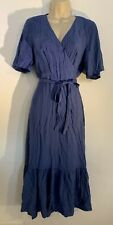 Women's Pleated Summer Dress by Primark Size 14 - Denim Blue