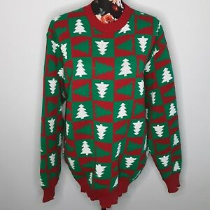 N.C COLLECTION Knitted Christmas Jumper Size XL Red/Green Christmas Trees Unsex
