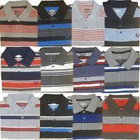 Mens Polo T-Shirts Striped Pique Shirt Summer Top Tee Short Sleeve Casual Collar