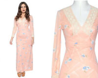 Vintage 1970's Dress 70's peach Floral Maxi Hippy Boho long festival Crochet