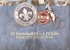HEIMSPIEL Zeitung SV Darmstadt 98 - 1.FC Köln 27.11.2015 DA Echo 2015/16