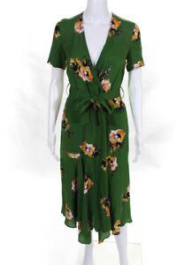 A.L.C. Womens Silk Short Sleeve Floral V Neck A Line Dress Green Size 0