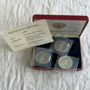 GARDINERS ISLAND 1965 3 COIN PATTERN TRIAL SET  - mint sealed/boxed/coa