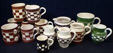 lot old Austria Mochaware Yellow Ware Pottery Checkerboard Mugs Cups Creamers