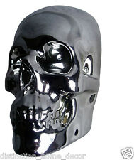 S63 3D Silver Chrome Skull Wall Art Plaque Gothic Sci Fi Décor Great Gift Biker