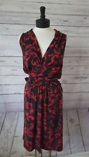 NORMA KAMALI Womens Size Medium Red Faux Wrap Dress Stretch Long Sleeve