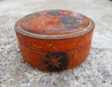 1800's Antique Scarce Handmade Wooden Box With Beautiful Floral Lacquer Painting