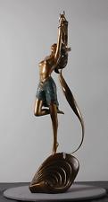 Angelo Basso Signed Bronze Art Nouveau Ondine