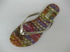 Qupid Womens Shoes NEW $28 Gable-06 Gold Metallic Thong Multi Insole 8.5 M