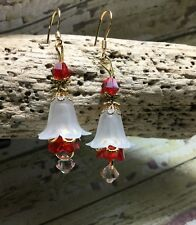 Handmade Red White Gold Lucite Crystal Earrings W/Swarovski Elements USA