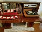 Retro vintage style cabinet with mini bar, radio, 8 track and record player