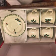 Mikasa Festive Season Cups and Saucers Christmas - Set of 4 NEW IN BOX