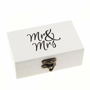 White & Black Ring Box Wedding Ceremony Vintage Ring Bearer Box (Mr & Mrs)