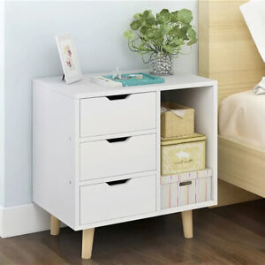 Bedside Table Cabinets Luxury White Wooden Drawers Bedroom Premium Quality Table