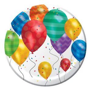 "Balloon Blast 8 Dessert Cake Plates 7"" Birthday Party"