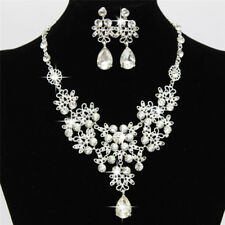Fashion Rhinestone Necklace Earrings New Set Crystal Women Wedding Jewelry HL