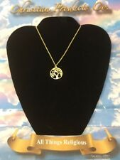 """Men/women Jewelry The Tree of Life Gold Plated Pendant w/ 18"""" link chain."""