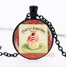 Vintage Cupcake photo Glass Dome black Chain Pendant Necklace wholesale