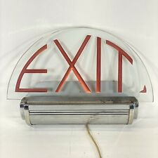Antique Lighted Electric Theater Exit Sign Chrome Amp Glass Retro