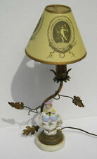 Rare Antique French  Lamp Porcelain~Lady Figurine with Leaves Cherub Shade