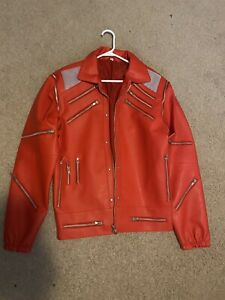 MJ Michael Jackson Beat It Leather Jacket Red Great Shape