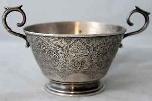 Antique Hand Engraved Silver Sugar Bowl Signed and Stamped 84