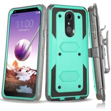 For LG Stylo 4/5/6 Plus Shockproof Armor Clip Holster Case Cover+Tempered Glass