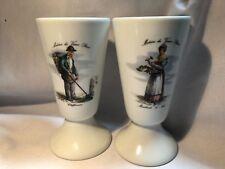 Pair of Vintage Limoges Porcelain Wine Goblets Metiers du Vieux Paris
