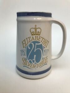 Vintage Cinque Ports Rye Pottery Queens Silver Jubilee Typographic Mug