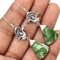 Peacock - Seraphinite 925 Sterling Silver Earrings Jewelry EE176651