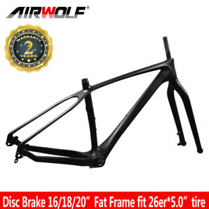 "16/18/20"" 26er Full Carbon Fat Frame Snow Beach Bike Bicycle Fork Frames Disc"