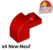 Lego - 4x Brique Brick Modified 1x2x1 x1/3 curved rouge/red 6091 NEUF