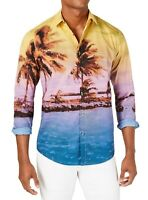 INC Mens Shirt Blue Yellow Size XL Tropical Sunset Painting Button Down $65 125