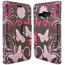 for Samsung Galaxy J1 Ace Wallet Case - Pink Butterfly Design Folio Phone Pouch