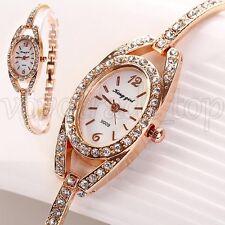 Neu Damen Frauen Uhr Strass Kristall Edelstahl Armband Armbanduhren