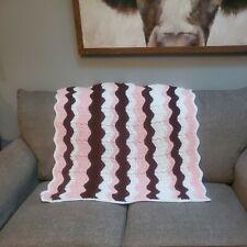 "Handmade Crochet Afghan Chevron Pink Brown White Multi Blanket Throw 36"" Square"