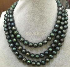 50 INCHES 9-10MM South Sea Black Tahitian Pearl Necklaces AA