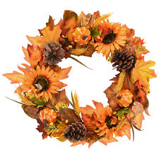 Nature Artificial Sunflowers  Wreath Pumpkins Pine Cone Maple Leaves Home Decor