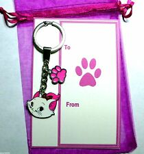 Aristocat Marie the Cat Cute Pink Charm Pendant Keyring & Pink Paw on Gift Card