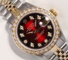 Rolex Lady Datejust 26mm Two Tone 18k Diamond Bezel-Red Vignette Diamond Dial