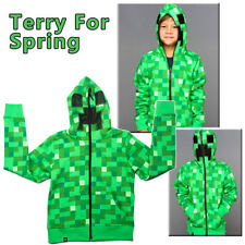 New Boys Youth Minecraft Creeper Hoodie Zip-Up Coat Sweater Jacket Sweatshirt